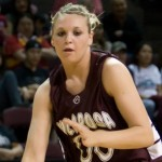 Hannah playing basketball at the 2008 state championships